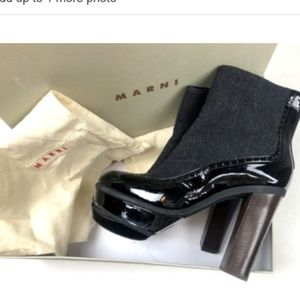 Marni 9.5 Patent Leather Wool Booties Ankle Boots
